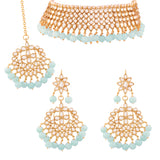 Traditional Kundan & Turquoise  Pearl Choker Necklace Set for Women (K7075SB)
