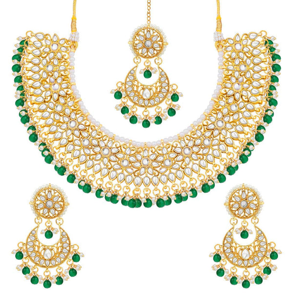 18K Gold Plated Traditional Handcrafted Kundan & Pearl Studded Choker with Earrings For Women/Girls