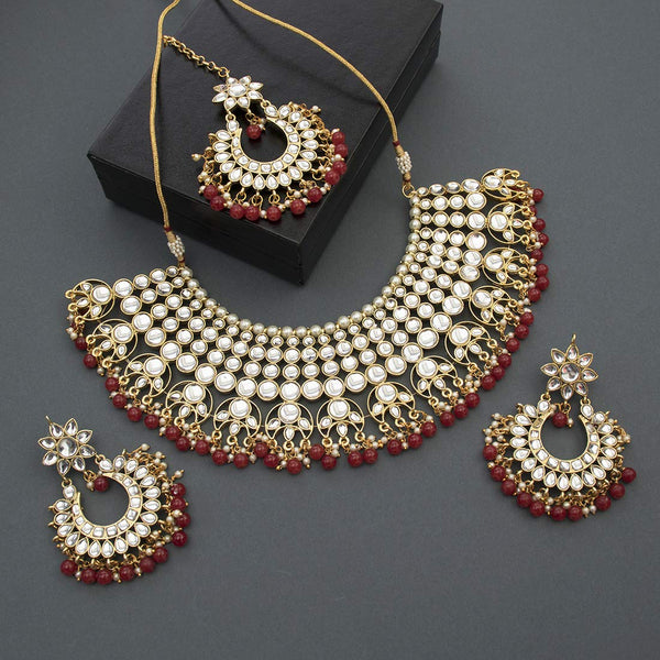 Traditional Gold Plated Kundan Pearl Wedding Choker Jewellery Set Earrings & Maang Tikka