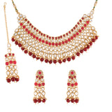 Gold Plated Traditional Handcrafted Faux Kundan Studded Bridal Jewellery Set Emblazoned with Earrings & Maang Tikka (K7081M)