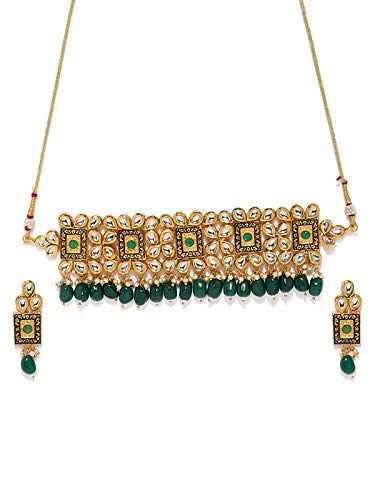 Traditional Gold Plated Kundan & Beads Choker Necklace Jewellery Set for Women (K7082G)