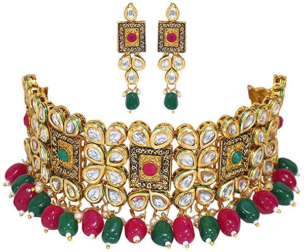 Traditional Gold Plated Kundan & Beads Choker Necklace Jewellery Set for Women (K7082QG)