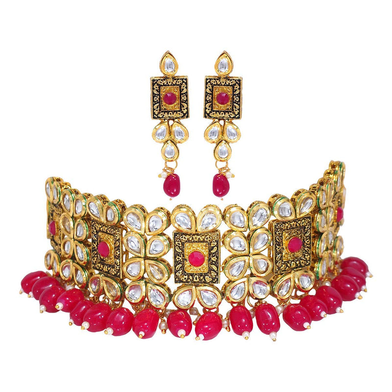 Traditional Gold Plated Kundan & Beads Choker Necklace Jewellery Set for Women (K7082Q)