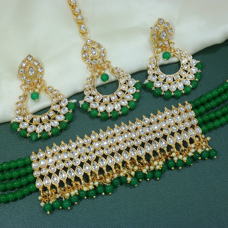 Gold Plated Ethnic Indian Traditional Kundan Pearl Choker Necklace Set for Women( K7083G)