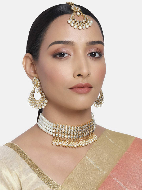 Gold Plated Ethnic Indian Traditional Kundan Pearl Choker Necklace Set for Women (K7083W)