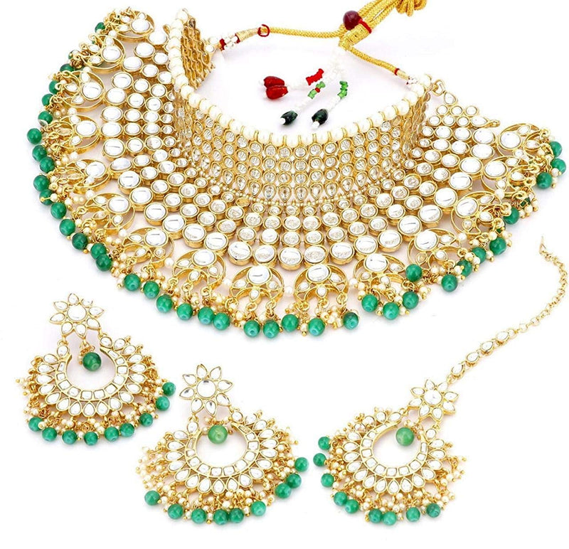 Traditional Gold Plated Bridal Kundan Choker Jewellery Set for Women (K7085G)
