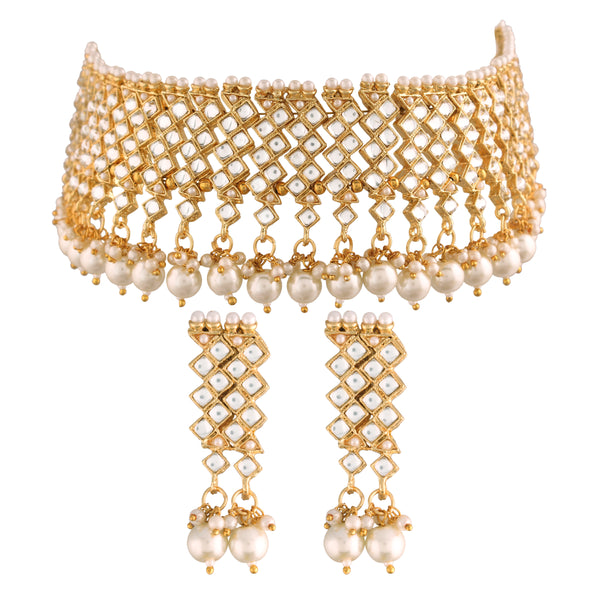 18K Gold Plated Traditional Handcrafted Faux Kundan Studded Jewellery Set With Earrings & Maang Tikka (K7091W)