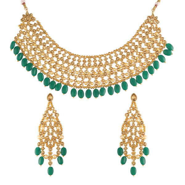 18K Gold Plated Traditional Handcrafted Faux Kundan Studded Jewellery Set With Earrings & Maang Tikka (K7092G)