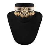 18k Gold Plated Traditional Choker Set Glided With Kundan & Pearls For Women/Girls