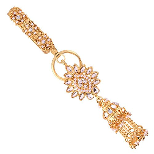 Gold Plated Traditional Kundan & Pearl Chabi Challa/Challa Waist Key chain For Women