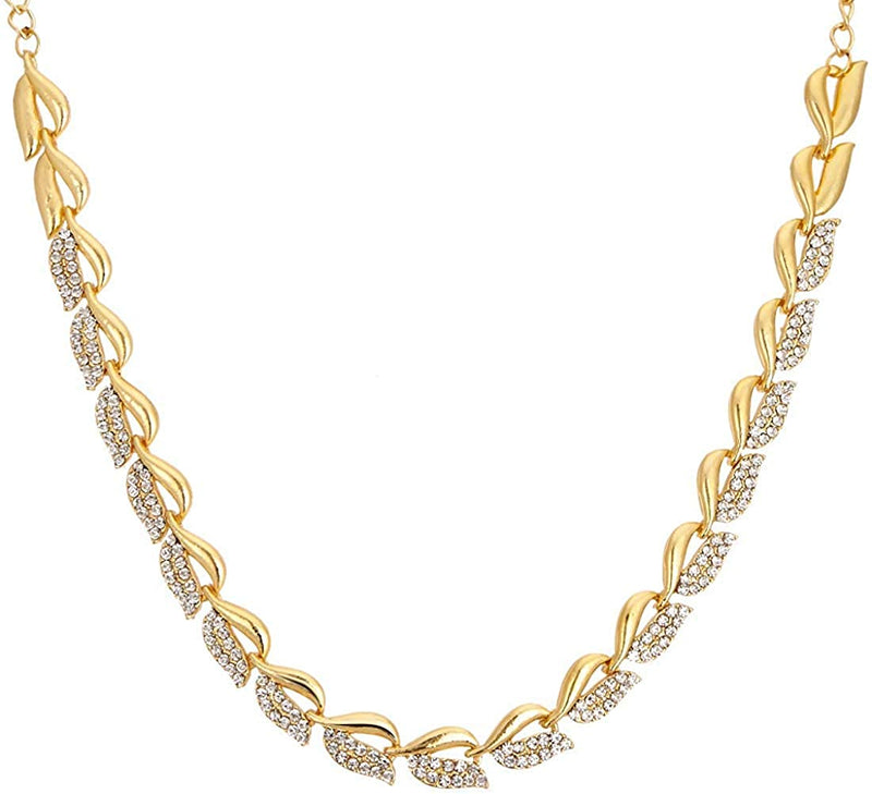 Gold Plated CZ Stylish Fancy Necklace with Earrings for Women