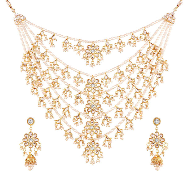 Exklusive Choker Style Pearl Gold Plated Multi Strand Rani Haar for Women