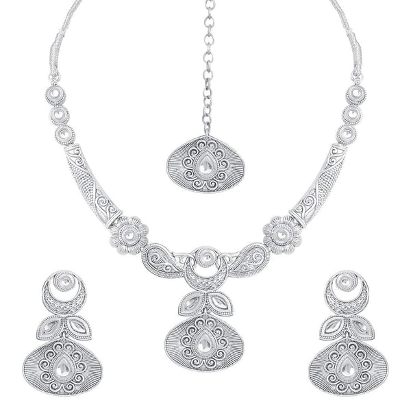 Oxidised Silver Handcrafted Rajsthani Necklace Set with Earrings & Maang Tikka