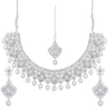Traditional Oxidised Silver Plated Stone Studded & Pearl Necklace Set with Earrings & Maang Tikka for Women