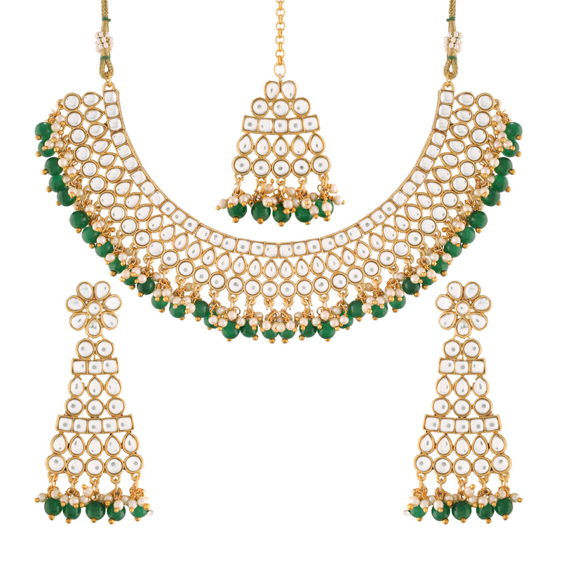 Traditional Gold Plated Handcrafted Stone Studded & Pearl Necklace Set with Earrings & Maang Tikka for Women