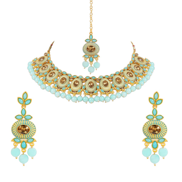 Gold Plated Traditional Kunzite Pearl Necklace Set with Earrings & Maang Tikka for Women