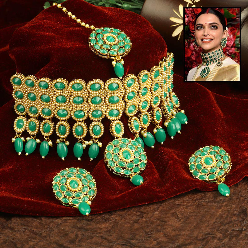Traditional Deepika Style Gold Plated Bridal Pearl Choker Necklace Set with Maang Tikka