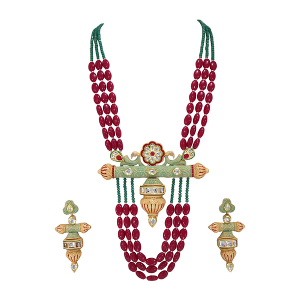 Traditional Kundan & Meenakari Multi String Antique Necklace Set with Earrings for Women