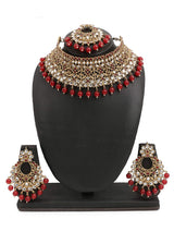 18K Gold Plated Traditional Choker With Earrings & Maang Tikka Encased With Kundan (ML233M)
