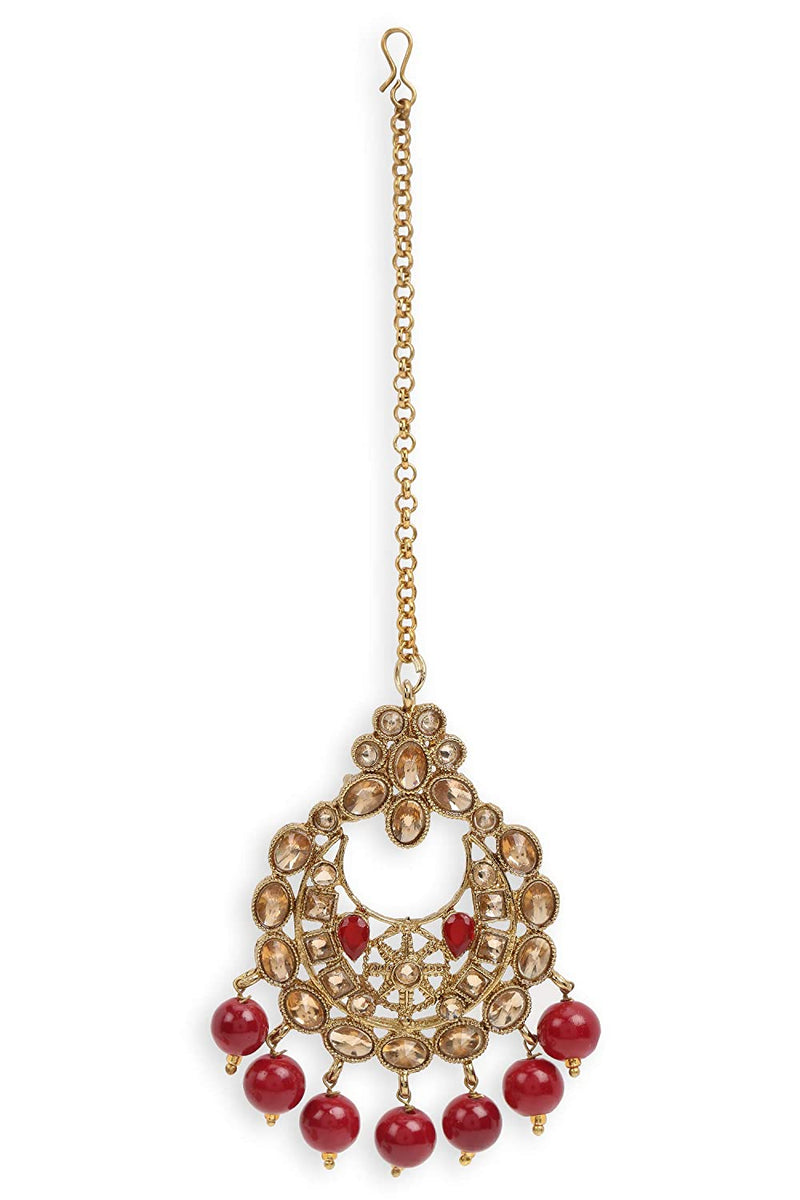 18K Gold Plated Traditional Choker With Earrings & Maang Tikka Encased With Kundan (M4161M)
