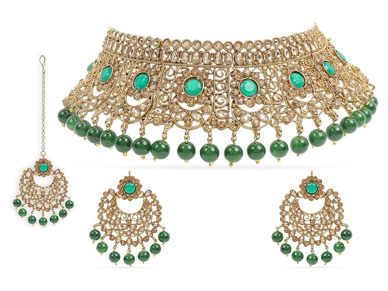 18K Gold Plated Traditional Choker With Earrings & Maang Tikka Encased With Kundan (M4162G)