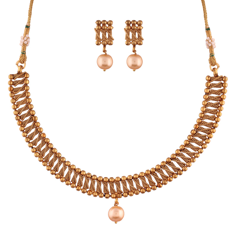 Traditional Gorgeous Lookethnic Gold Plated Copper Choker & Pearl Necklace Set with Earrings for Women