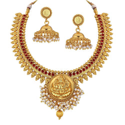 24K Gold Plated Temple Jewellery Laxmi Pendant Necklace Set with Earrings for Women (MC013)