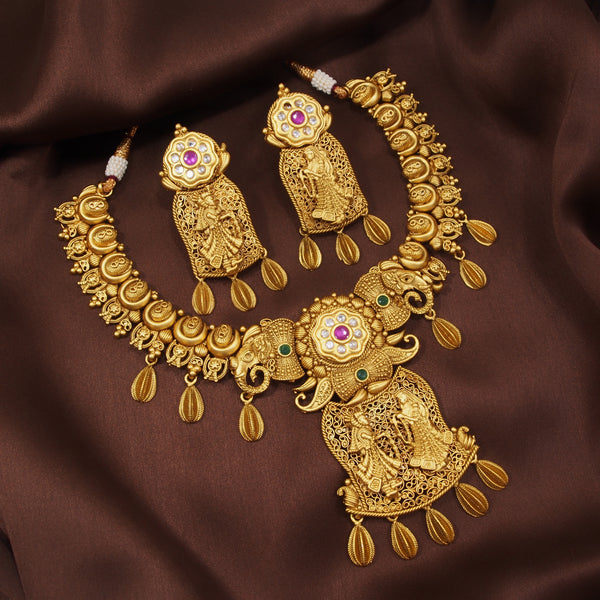 18K Gold Plated Traditional Brass Jewellery Set With Earrings Intricately Engraved With Bride & Groom Figurines (MC026MG)