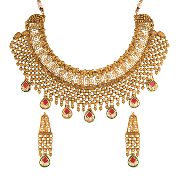 18K Gold Plated Intricately Designed Traditional Brass Jewellery Set With Earrings Strung with Uncut Polki Kundan (MC027MG)