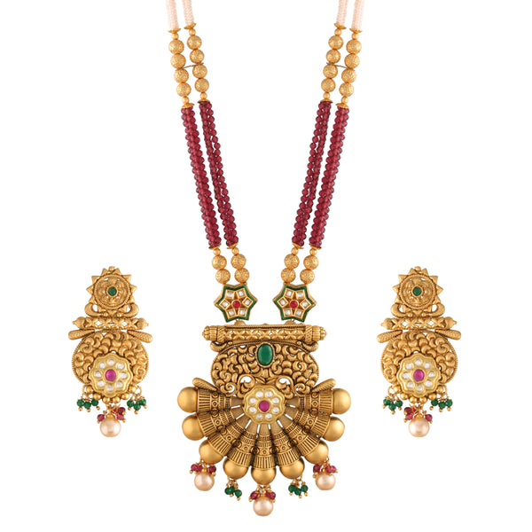 18K Gold Plated Intricately Designed Traditional Long Beaded Brass Jewellery Set With Earrings Glided with Uncut Polki Kundan (MC038)