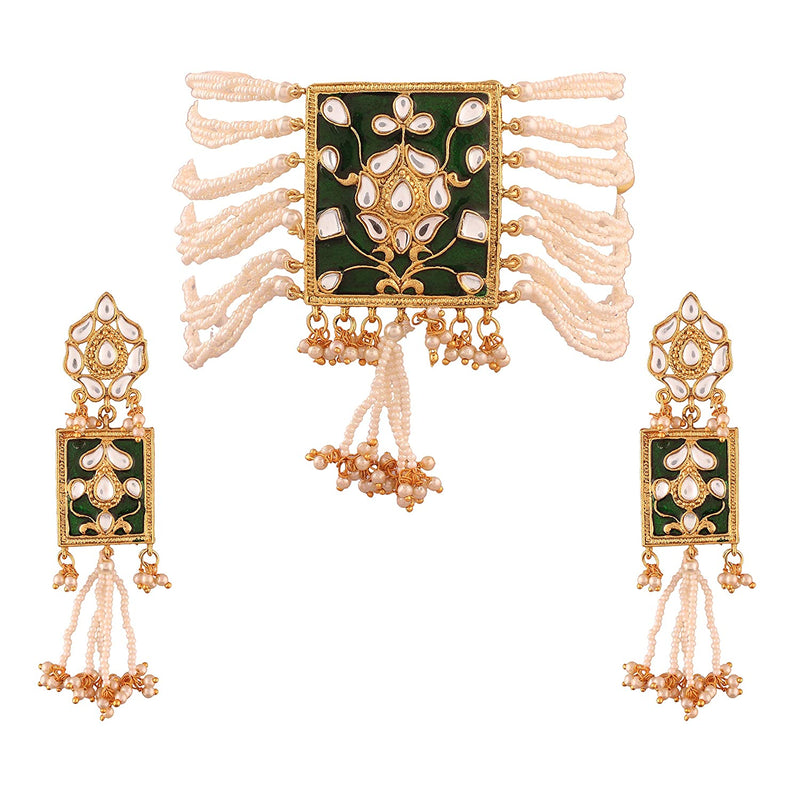 Gold Plated Traditional Padmavati Pearl & Kundan Necklace with Earrings for Women (ML118G)