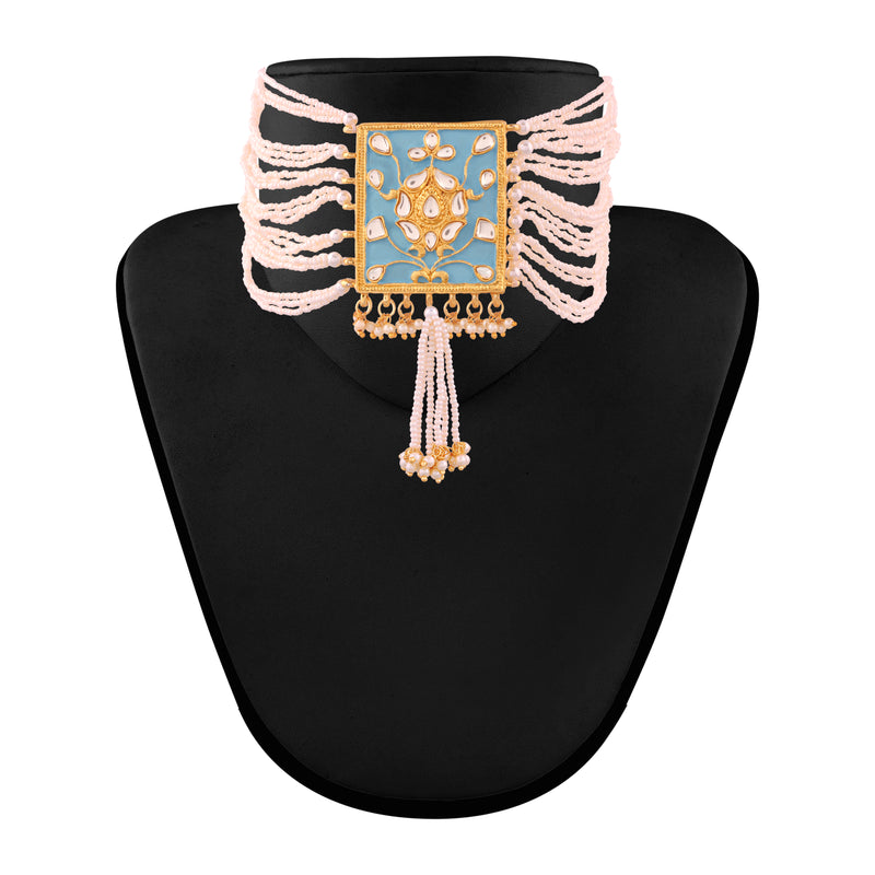 Gold Plated Traditional Padmavati Pearl & Kundan Necklace with Earrings for Women (ML118SB)