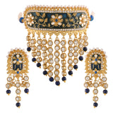 Gold Plated Handcrafted Enamel/Meena Work Traditional Choker with Teeming Waterfall of Stone Studded Jewellery Set for Women/Girls (ML123BL)