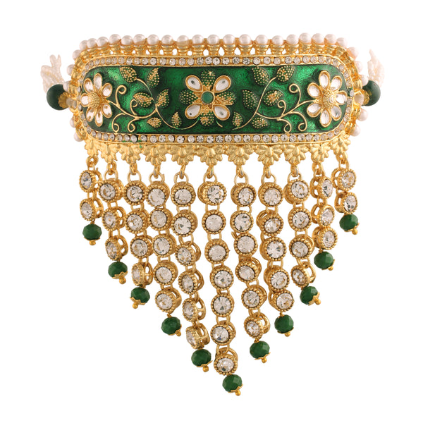 Gold Plated Handcrafted Enamel/Meena Work Traditional Choker with Teeming Waterfall of Stone Studded Jewellery Set for Women/Girls (ML123G)