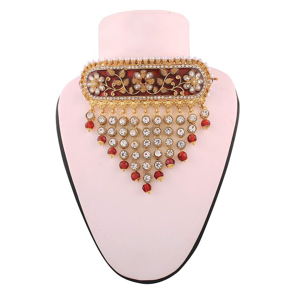 Gold Plated Traditional Padmavati Pearl & Kundan Choker Necklace with Earrings for Women