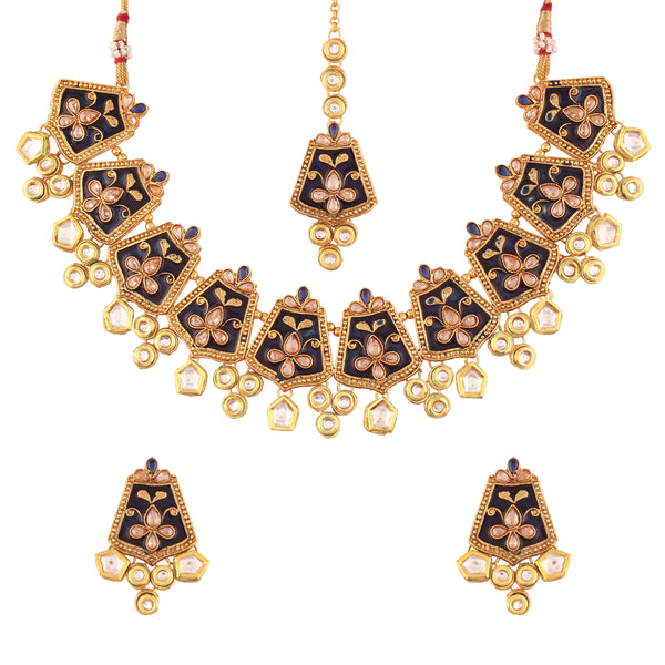 Exclusive Gold Plated Kundan & Meenakari Bridal Necklace Set with Earrings & Maang Tikka for Women  (ML134Bl)