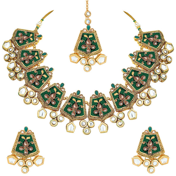Gold Plated Kundan & Meenakari Bridal Necklace Set with Earings & Maang Tikka for Women (ML134G)