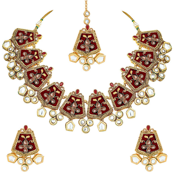 Exclusive Gold Plated Kundan & Meenakari Bridal Necklace Set with Earings & Maang Tikka for Women (ML134M)