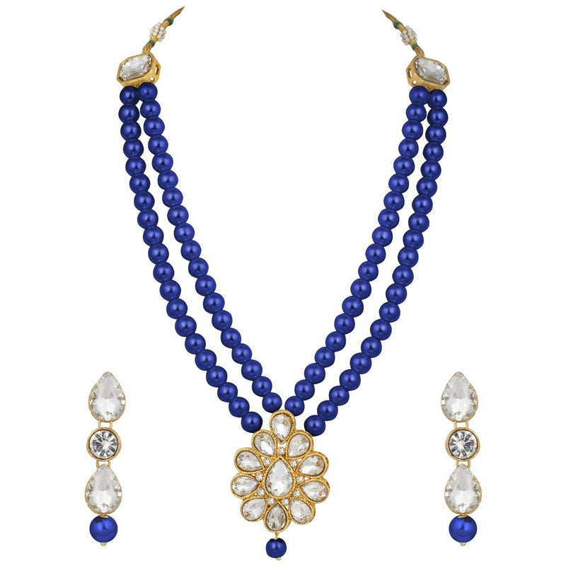 Traditional Gold Plated Pearl & Kundan Necklace Set with Earrings for Women(ML140BL))