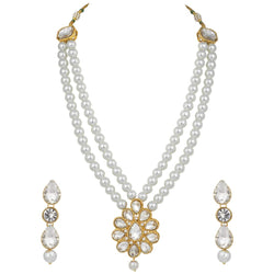 Traditional Gold Plated Pearl & Kundan Necklace Set with Earrings for Women (ML140W)
