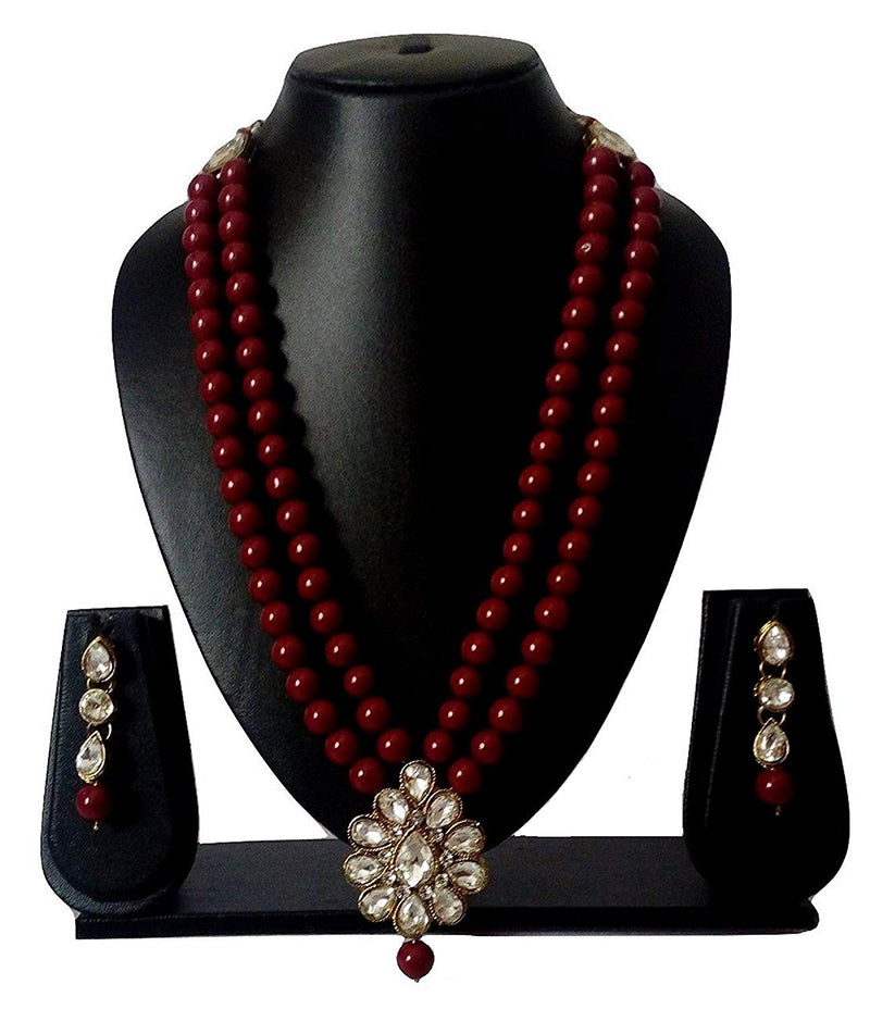Traditional Gold Plated Pearl & Kundan Necklace Set with Earrings for Women(ML140M)