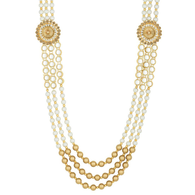 Gold Plated Kundan Pearl Long Rani Haar with Earring and Maang Tikka Set for Women