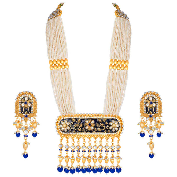 Traditional Gold Plated Kundan Pearl Multi Layered Meena Work Long Necklace & Earings Set (ML181BL)