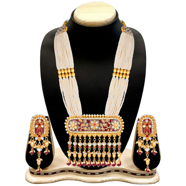 Traditional Gold Plated Kundan Pearl Multi Layered Meena Work Long Necklace & Earings Set (ML181M)