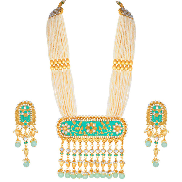 Traditional Gold Plated Kundan Pearl Multi Layered Meena Work Long Necklace & Earings Set (ML181Min)