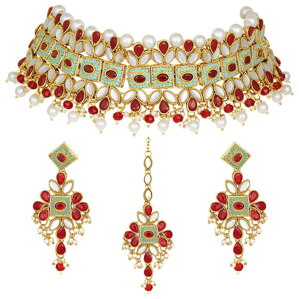 Gold Plated Kundan Pearl Meenakari Bridal Necklace Set with Earrings & Maang Tikka for Women
