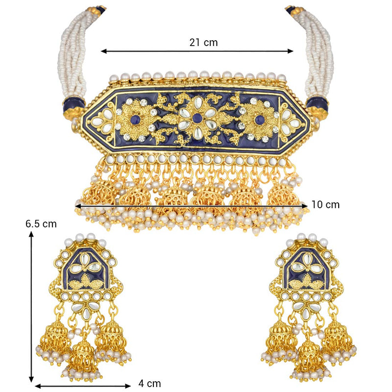 Traditional Gold Plated Kundan Pearl Meena Work Choker Jewellery Set with Jhumkis for Women (ML185BL)