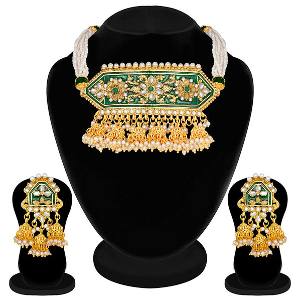 Traditional Gold Plated Kundan Pearl Meena Work Choker Jewellery Set with Jhumkis for Women (ML185G)