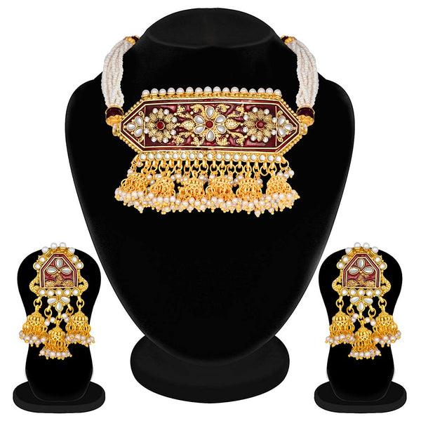 Traditional Gold Plated Kundan Pearl Meena Work Choker Jewellery Set with Jhumkis for Women (ML185M)