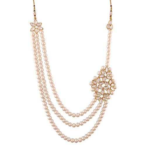 Traditional Gold Plated Kundan Pearl Choker Jewellery Set with Earrings & Maang Tikka for Women